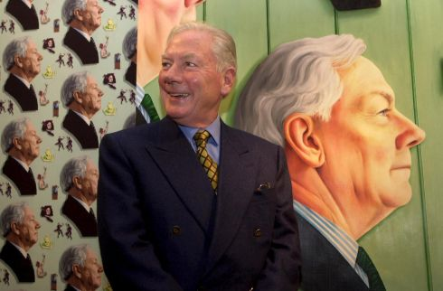 Gay Byrne with his portrait in the National Gallery of Ireland. Photograph: Cyril Byrne/The Irish Times