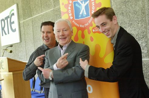 Gay Byrne, Gerry Ryan and Ryan Tubridy at a photocall in Donnybrook to launch the RTÉ People in Need Telethon 2004. Photograph: Bryan O'Brien/The Irish Times