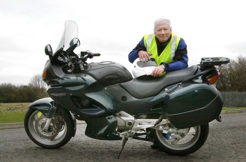 Gay Byrne with his Deauville motor bike in March 2004. Photograph: Cyril Byrne/The Irish Times