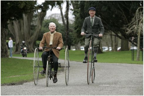 Gay Byrne, on a 1884 Quadrant Tricycle and Peter Matthews from Santry on a Penny Farthing, at the launch of the Best Buddies Challenge Ireland in 2006. Photograph: Dara Mac Dónaill/The Irish Times