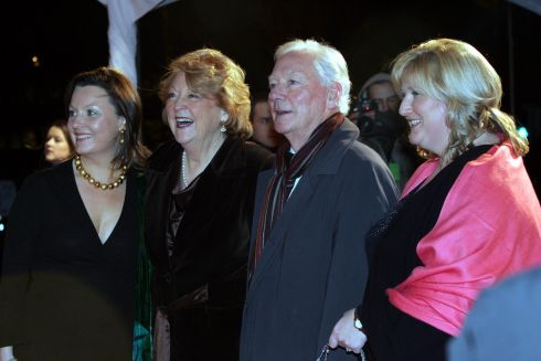 Gay Byrne with his wife kathleen and their daughters Suzy and Crona at the Irish Film & Television Awards in 2007 at the RDS. Photograph: Cyril Byrne/The Irish Times