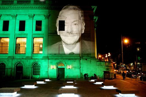 The face of Gay Byrne on the side of City Hall part of the St Patrick's day Festival  in 2007 when images of famous people were projected on public buildings on Dublin. Photograph: David Sleator/The Irish Times