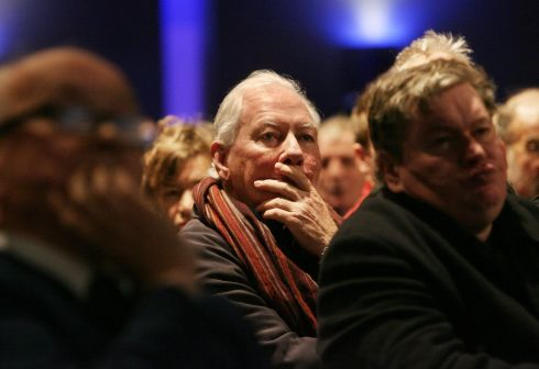 The broadcaster Gay Byrne among the shareholders at the Anglo Irish Bank egm held in the Mansion House, Dublin in January 2009. Photograph: Matt Kavanagh/The Irish Times