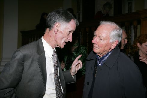 Tom Savage and Gay Byrne at the launch of the RTé broadcaster John Bowman's book Window and Mirror, RTé Television 1961-2011 at the National Museum in Dublin in 2011. Photograph: Alan Betson/The Irish Times