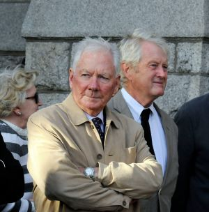 Gay Byrne and John Bowman at the removal of poet Séamus Heaney, at the Church of the Sacred Heart, Donnybrook in September 2013. Photograph: Dave Meehan/The Irish Times