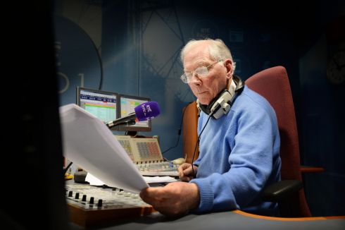 Gay Byrne presenting his Time Warp show on Lyric FM at the RTé Radio Centre, Donnybrook in 2013. Photograph: Alan Betson/The Irish Times