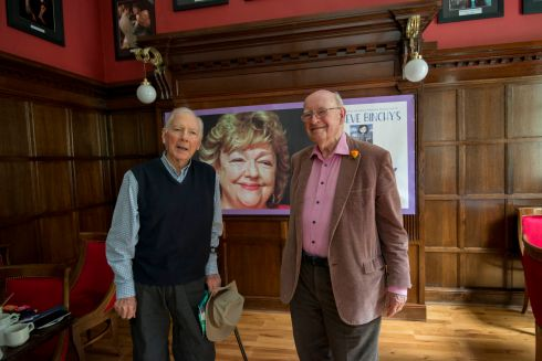 Children's writer Gorden Snell, husband of the late Maeve Binchy, with Gay Byrne at the Gaiety Theatre in May 2017 during an event to remember Maeve Binchy and to launch the world premiere of Minding Frankie, adapted for the stage. Photograph: Brenda Fitzsimons/The Irish Times