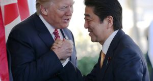 US president Donald Trump greets Japanese prime minister Shinzo Abe as the latter arrives at the White House on February 10th, 2017 in Washington, DC. File photograph: Mario Tama/Getty Images