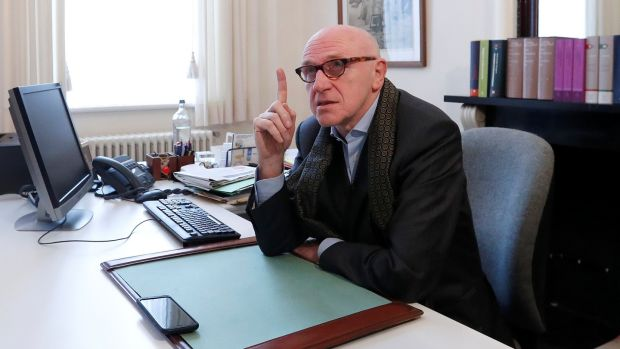 Sacked Catalan leader Carles Puigdemont's Belgian lawyer, Paul Bekaert, in his office in Tielt in Belgium today. Photograph: Yves Herman/Reuters