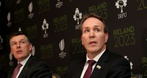 "Ireland's bid director and IRFU's chief operating officer Kevin Potts (right): ""We have reflected on the report in a measured way; we haven't panicked."" Photograph: Dan Sheridan/Inpho"