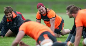 Munster's Rhys Marshall and Chris Cloete during training. Photograph: Bryan Keane/Inpho