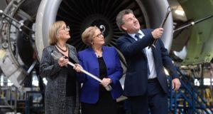 Enterprise Ireland chief executive Julie Sinnamon , Tánaiste Frances Fitzgerald and Dublin Aerospace chief executive Michael Tyrrell at the announcement of 150 new jobs at the company. Photograph: Alan Betson
