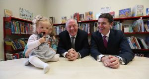 Ella  McPhillips (10 months) with Ministers  Michael Ring and   Paschal Donohoe at the launch of the €5 million Rapid fund in Dublin.  Photograph: Sam Boal/Rollingnews.ie
