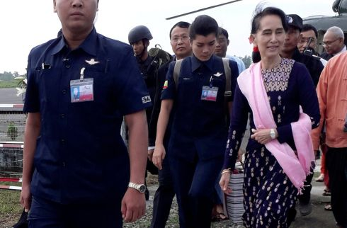 NOT SO NOBEL: Myanmar's de facto leader Aung San Suu Kyi arrives at Sittwe airport in the state of Rakhine. It was the first time she visited the area since a military crackdown that drove more than 600,000 Rohingya Muslims to flee the country. Photograph: Reuters