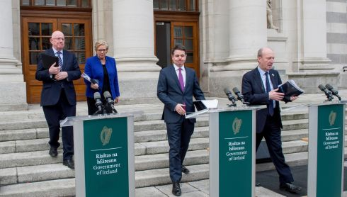 CRACK SQUAD: Charlie Flanagan, Frances Fitzgerald, Paschal Donohoe and Shane Ross at Government Buildings to announce details on a new initiative on tackling whilte collar crime. Photograph: Brenda Fitzsimons/The Irish Times