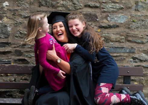 PROUD AS PUNCH: Aoife Martin, Enniscorthy, Co Wexford, a business graduate, with her nieces Nia and Lauren Farrell at her conferring at Waterford Institute of Technology. Photograph: Patrick Browne