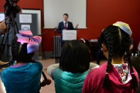 ANY DAY NOW: Children listening to Minister for Finance Paschal Donohoe at the launch of the €5m Rapid programme which is focused on tackling social exclusion in disadvantaged urban areas. Photograph: Cyril Byrne/The Irish Times