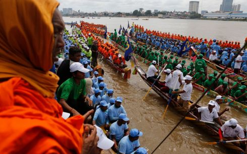 READY, SET, GO! People look at racing boats during the annual Water Festival on the Tonle Sap River in Phnom Penh, Cambodia. About 270 boats race during the festival, mostly from Cambodian provinces along the Mekong River. Photograph: Kith Serey/EPA