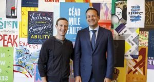 Facebook founder and chief executive Mark Zuckerberg with Taoiseach Leo Varadkar at the company's headquarters in Menlo Park, Silicon Valley, California.  Facebook has confirmed it plans to create hundreds of new jobs in Ireland next year. Photograph: Facebook