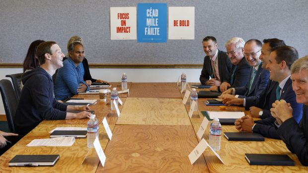 Mark Zuckerberg and Facebook executives meet Taoiseach Leo Varadkar and officials at Menlo Park, Silicon Valley, California, on Facebook's expansion plans in Ireland. Photograph: Facebook