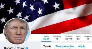 The masthead of US president Donald Trump's @realDonaldTrump Twitter account as seen on July 11th, 2017. Photograph: Reuters