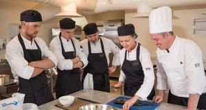 Doug Harrington (right) teaching culinary students at Cliff Academy at Cliff at Lyons in Co Kildare