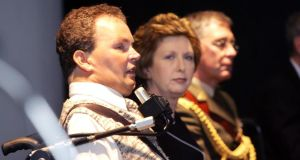 Eugene Callan and President Mary McAleese at a conference in Dublin in 2007 on independent living for people with disabilities. Photograph: Cyril Byrne