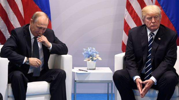 Russia's President Vladimir Putin and President Donald Trump at a meeting on the sidelines of the G20 Summit in Hamburg in July 2017. Photograph: Saul Loeb/AFP/Getty Images