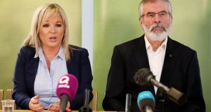 Sinn Féin's Northern Ireland leader Michelle O'Neill and Sinn Féin president Gerry Adams: ready to do a deal, but not met with enthusiasm by Arlene Foster and the DUP. Photograph: Paul Faith/AFP/Getty Images