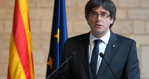 Catalan president Carles Puigdemont is not a demagogue. He has to do nothing more in this campaign than what he has already been doing – quietly, rationally and peacefully making the case for secession. Photograph: Lluis Gene/AFP/Getty Images
