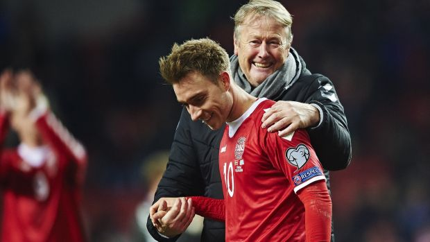 "Age Hareide and Tottenham's Christian Eriksen. ""He's a world class player, and if you have a world class player in your side you have to give him the freedom and space to work and use his skills."" Photograph: Getty Images"