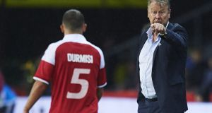 Denmark manager Age Hareide during a friendly against Germany in June. He points to the match as a turning point. Photograph:  Getty Images