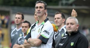 "Jim McGuinness and Pat Shovelin (right) on the sideline for Donegal. ""It meant the world to Pat to be involved with Donegal, and he was so proud of the boys. And I just hope he knew that they were proud of him too.""  Photograph: Jonathan Porter/Inpho"