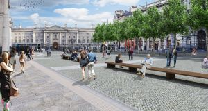Architect images for the College Green civic space: Dublin Bus wants to keep running buses through College Green.