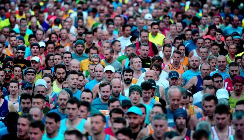 LONG WAY ROUND: Some of the event's 20,000 competitors at the start of the SSE Airtricity Dublin Marathon, on Sunday. Photograph: Cyril Byrne