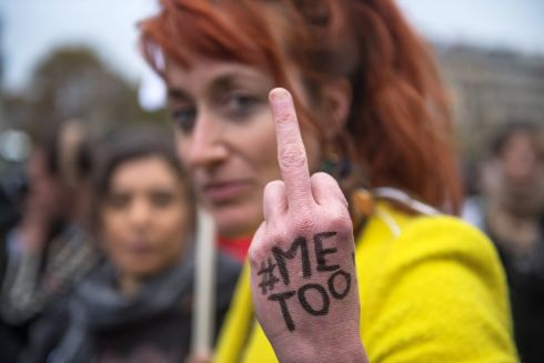 #METOO: A demonstrator at a rally in Paris against sexual harassment and abuse. Photograph: Christophe Petit Tesson/EPA