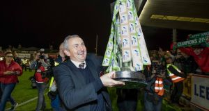 Cork City manager John Caulfield lifts the trophy after City's SSE Airtricity League Premiership Division win over Bray Wanderers in October. Photograph: Morgan Treacy/Inpho