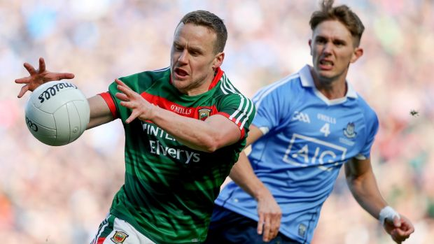 Mayo's Andy Moran in action against Michael Fitzsimons of Dublin. Photograph: Tommy Dickson/Inpho