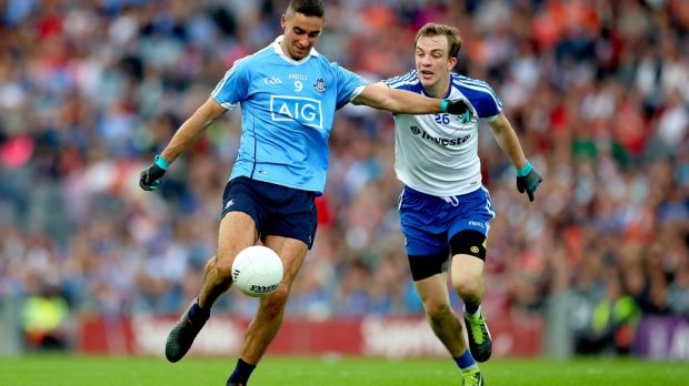 Dublin's James McCarthy is closed down by Jack McCarron of Monaghan. Photograph: James Crombie/Inpho