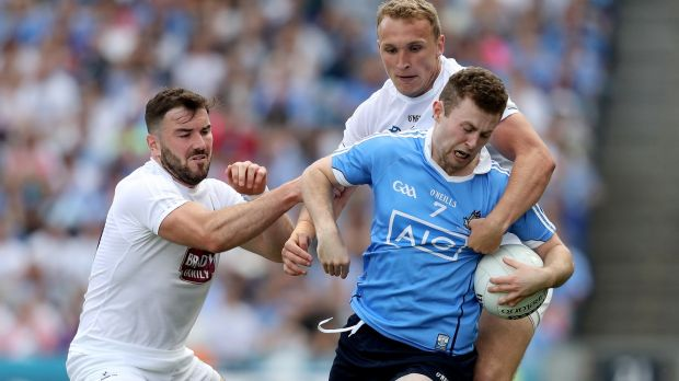 Kildare's Tommy Moolick tackles Dublin's Jack McCaffrey during the Leinster SFC Final. Photograph: Photograph: Oisin Keniry/Inpho