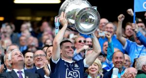 Dublin captain Stephen Cluxton lifts the Sam Maguire after the win over Mayo at Croke Park. Photograph: James Crombie/Inpho