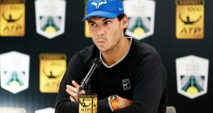 Spain's Rafael Nadal may miss the ATP Finals in London due to his knee problems. Photograph: Ian Langsdon/EPA