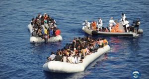Migrants rescued by the European Union's Operation Sophia in the Mediterranean on Friday.  Photograph: Facebook