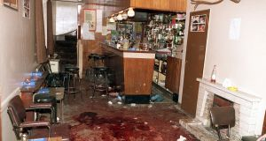 The interior of O'Toole's bar in Loughinisland, Co Down the morning after the UVF shot dead 6 people on  June 18th, 1994,