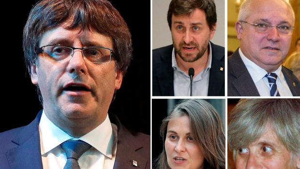 Carles Puigdemont (L) and the four former members of Catalan government who are in hiding: (top L-R) Antoni Comin, Lluis Puig, Meritxell Serret, and Clara Ponsati. Photograph: EPA
