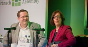 Brian Caulfield (TCD)  and Anne Graham, CEO, National Transport Authority at the Citizens' Assembly at the Grand Hotel Malahide, Photograph: Tom Honan