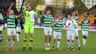 Celtic players celebrate breaking the record for the longest unbeaten run in domestic competition by a British top-flight team after the Scottish Premiership win over St Johnstone  at McDiarmid Park in Perth. Photograph:  Jeff Holmes/PA Wire