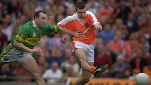 Oisín McConville in action for Armagh against Kerry in 2002. The All-Ireland winner entered treatment for gambling addiction three years later. Photograph: Dara Mac Dónaill/The Irish Times
