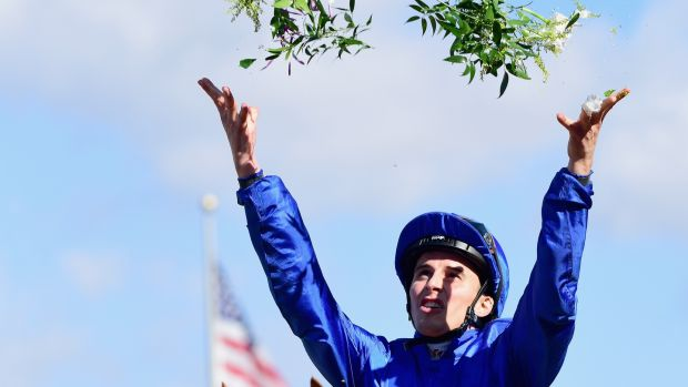 William Buck celebrates after riding Wuheida to victory in the Breeders' Cup Filly & Mare Turf race at Del Mar Race Track , California. Photograph: Harry How/Getty Images