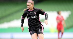 Emma Hansberry scored Wexford Youths' first goal in the 2-0 win over Peamount United that secured   the Continental Tyres Women's National League at Ferrycarrig Park. Photograph: Ryan Byrne/Inpho